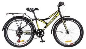 """Велосипед подростковый горный Discovery Flint 14G Vbr с багажником 2018 - 24"""",  рама - 14"""", черно-желтый (OPS-DIS-24-097)"""
