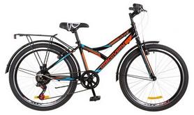 """Велосипед подростковый горный Discovery Flint 14G Vbr с багажником 2018 - 24"""",  рама - 14"""", черно-оражевый (OPS-DIS-24-096)"""