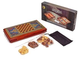 Распродажа*! Набор настольных игр 2 в 1 деревянный (нарды, шахматы) BAKU XLY730-B, 33 x 34 см