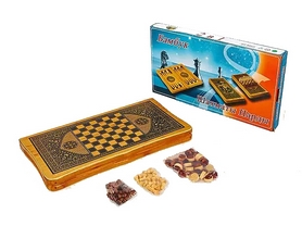 Набор настольных игр 2 в 1 деревянный (нарды, шахматы) BAKU B4825, 44 x 44 см