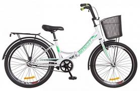 """Велосипед подростковый Formula Smart 14G Vbr St с багажником и корзиной 2018 - 24"""", рама - 15"""", бело-зеленый (OPS-FR-24-106)"""