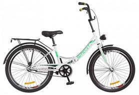 """Велосипед подростковый Formula Smart 14G Vbr St с багажником и фонарём 2018 - 24"""", рама - 15"""", бело-зеленый (OPS-FR-24-110)"""