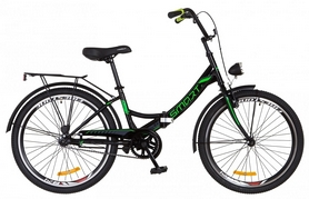 """Велосипед подростковый Formula Smart 14G Vbr St с багажником и фонарём 2018 - 24"""", рама - 15"""", черно-зеленый (OPS-FR-24-109)"""