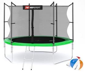 Батут с внутренней сеткой 3 ноги Hop-Sport 10ft зеленый, 305 см