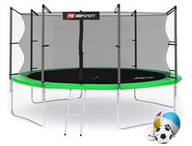 Батут с внутренней сеткой Hop-Sport 14ft зеленый, 427 см