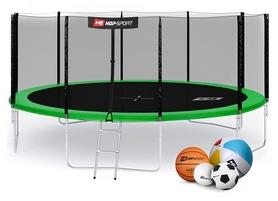 Батут с внешней сеткой Hop-Sport 16ft зеленый, 488 см