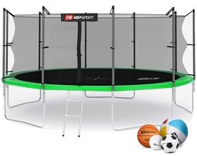 Батут с внутренней сеткой Hop-Sport 16ft зеленый, 488 см