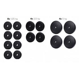 Набор дисков композитных Elitum Titan A, 40 кг (8 шт по 1,25 кг, 4 шт по 2,5 кг, 4 шт по 5 кг)