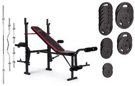 Скамья для жима Hop-Sport HS-1055 + набор Strong, 129 кг
