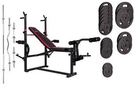 Скамья для жима Hop-Sport HS-1070 + набор Strong, 129 кг
