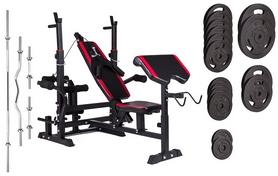 Скамья для жима Hop-Sport HS-1075 с приставкой Скотта и верхней тягой + набор Strong, 129 кг