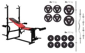 Скамья для жима Hop-Sport HS-1070 + набор Strong, 83 кг