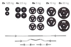 Набор Hop-Sport Strong штанга и гантели, 129 кг