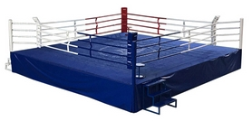 Ринг боксерский профессиональный Sportko (канаты - 6,1х6,1 м), 7,5х7,5х1 м