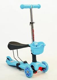 Самокат детский с наклоном руля Speed Micro Mini с сиденьем 3 в 1 C-0331-BL голубой
