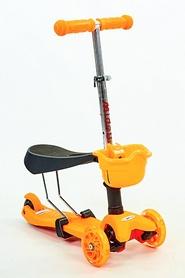 Самокат детский с наклоном руля Speed Micro Mini с сиденьем 3 в 1 C-0332-OR оранжевый