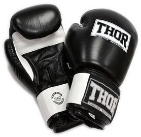 Перчатки боксерские Thor Sparring Leather Black/White (558)