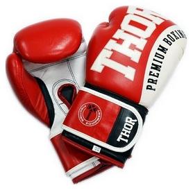 Перчатки боксерские Thor Shark Leather красные (8019/02)