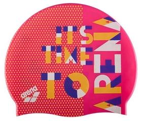 Шапочка для плавания Arena Print Jr Dashboard-Fresia, розовая (94171-903)