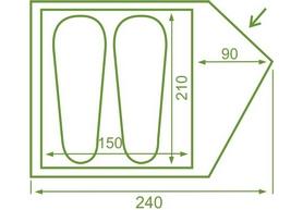 Фото 2 к товару Палатка двухместная Mousson Fly 2, лайм (4823059847008)
