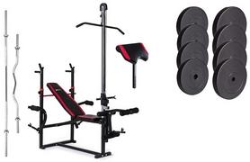 Скамья для жима Hop-Sport HS-1070 с партой и тягой + набор Premium, 74 кг
