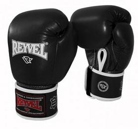 Перчатки боксерские из натуральной кожи Reyvel - черные (BPRY002-BK)