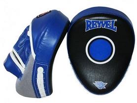 Лапы боксерские эргономические гнутые Reyvel, черно-синие (LARY004-BL)