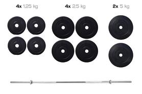 Cкамья для жима Hop Sport HS-1020 с партой + набор Elitum Titan (штанга и гантели), 33 кг