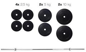 Cкамья для жима Hop Sport HS-1020 с партой и тягой + набор Elitum Titan (штанга и гантели), 48 кг