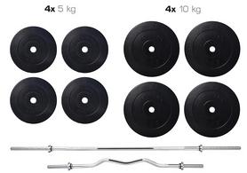Cкамья для жима Hop Sport HS-1070 с партой и тягой + набор Elitum Titan (штанга и гантели), 74 кг