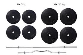 Cкамья для жима Hop Sport HS-1075 с партой и тягой + набор Elitum Titan (штанга и гантели), 74 кг