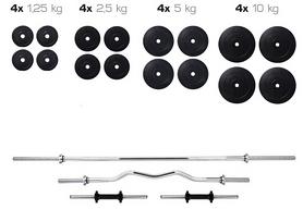 Cкамья для жима Hop Sport HS-1070 с партой и тягой + набор Elitum Titan (штанга и гантели), 91 кг