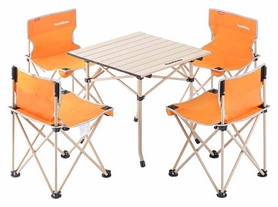 Набор кемпинговой мебели Naturehike NH17Z002-Z Foldabe Table & Chair Set - оранжевый, 5 шт (6927595721322)