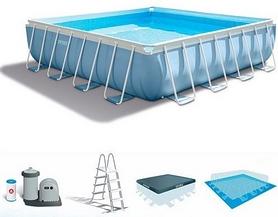 Бассейн каркасный с фильтрующим насосом и аксессуарами Intex 28764, 427х427х107 см