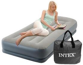Кровать надувная односпальная со встроенным насосом Intex V64116 - серо-синяя, 99х191х30 см (64116)