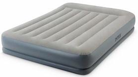 Кровать надувная двуспальная со встроенным насосом Intex V64118 - серо-синяя, 152x203x30 см (64118)