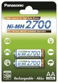Аккумуляторы Panasonic High Capacity AA 2700 мАч Ni-MH, 2 шт (BK-3HGAE/2BE)
