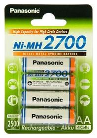 Аккумуляторы Panasonic High Capacity AA 2700 мАч Ni-MH, 4 шт (BK-3HGAE/4BE)