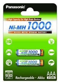 Аккумуляторы Panasonic High Capacity AAA 1000 мАч Ni-MH, 2 шт (BK-4HGAE/2BE)