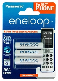 Аккумуляторы Panasonic Eneloop AAA 750 мАч Ni-MH Dect Series, 3 шт (BK-4MCCE/3DE)