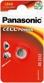 Батарейка Panasonic LR44 BLI, 1 шт (LR-44EL/1B)