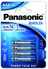 Батарейки Panasonic Evolta AAA BLI Alkaline, 4 шт (LR03EGE/4BP)