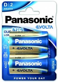 Батарейки Panasonic Evolta D BLI Alkaline, 2 шт (LR20EGE/2BP)