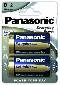 Батарейки Panasonic EveryDay Power D BLI Alkaline, 2 шт (LR20REE/2BR)