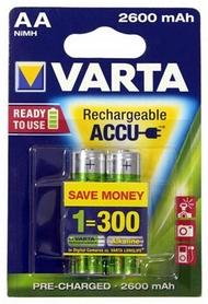 Аккумуляторы Varta Rechargeale Accu AA 2600 mAh Bli 2 Ni-Mh (Ready 2 Use) (05716101402)