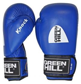 Перчатки боксерские с печатью ФБУ Green Hill Knock, синие (KBK-2105)