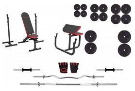 Набор силовой Marbo Sport MH9 (скамья со стойкой + приставка Скотта + штанга наборная), 142 кг (2388)