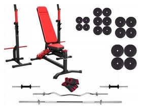 Набор силовой Marbo Sport MS30 (скамья со стойкой + штанга наборная), 142 кг (2391)