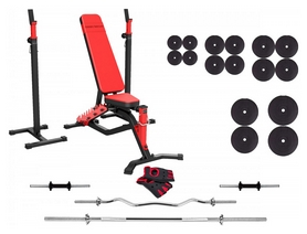 Набор силовой Marbo Sport MS1 (скамья со стойкой + штанга наборная), 143 кг (2389)