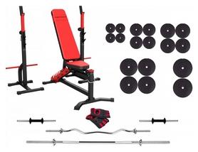 Набор силовой Marbo Sport MS30 (скамья со стойкой + штанга наборная), 167 кг (2392)